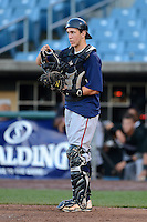 Cathcer Daniel Wasinger (16) of Eastlake High School in El Paso, Texas playing for the Atlanta Braves scout team during the East Coast Pro Showcase on August 1, 2013 at NBT Bank Stadium in Syracuse, New York.  (Mike Janes/Four Seam Images)