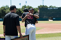 STANFORD, CA - MAY 29: Brendan Beck, David Esquer before a game between Oregon State University and Stanford Baseball at Sunken Diamond on May 29, 2021 in Stanford, California.