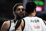 Real Madrid´s Felipe Reyes and Gustavo Ayon during 2014-15 Euroleague Basketball match between Real Madrid and Zalgiris Kaunas at Palacio de los Deportes stadium in Madrid, Spain. April 10, 2015. (ALTERPHOTOS/Luis Fernandez)