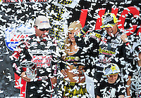 Mar. 19, 2011; Chandler, AZ, USA;  LOORRS pro lite driver Chris Brandt (left) and Brian Deegan on the podium during round one at Firebird International Raceway. Mandatory Credit: Mark J. Rebilas-US PRESSWIRE