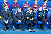 (L-R) Manager Graham Potter, Billy Reid, assistant manager , Bjorn Hamberg, assistant coach and goalkeeping coach Adrian Tucker sit on the Swansea bench during the Sky Bet Championship match between Sheffield Wednesday and Swansea City at Hillsborough Stadium, Sheffield, England, UK. Saturday 23 February 2019