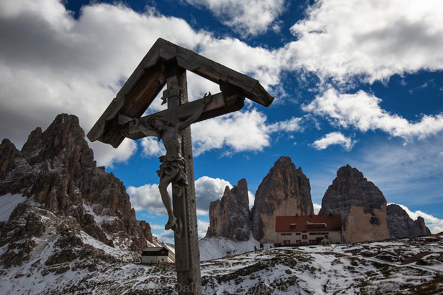 Cross at the Rifugio Locatelli, Tre Cime, Dolomites, Italy