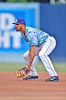 Asheville Hippies first baseman Jacob Bosiokovic (21) during a game against the Greenville Drive at McCormick Field on June 29, 2017 in Asheville, North Carolina. The Drive defeated the Tourists 9-6. (Tony Farlow/Four Seam Images)