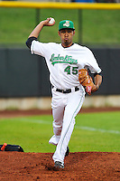 Edwin Diaz #45 of the Clinton LumberKings warms up in the bullpen prior to the game against the Kane County Cougars at Ashford University Field on July 5, 2014 in Clinton, Iowa. The Cougars won 4-0.   (Dennis Hubbard/Four Seam Images)