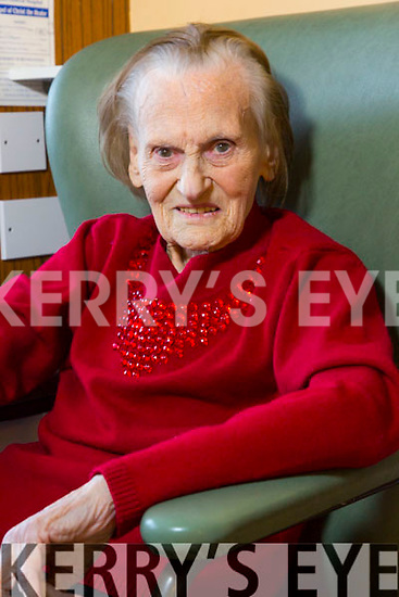 Sheila Kelleher  from Beaufort celebrating her 100th Birthday with family in Ardagh Ward of the Kerry Genral Hospital on Thursday.