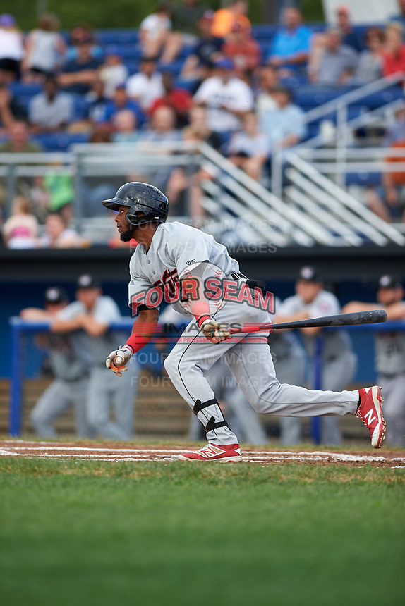 Tri-City ValleyCats left fielder Luis Payano (19) bats during a game against the Batavia Muckdogs on July 14, 2017 at Dwyer Stadium in Batavia, New York.  Batavia defeated Tri-City 8-4.  (Mike Janes/Four Seam Images)