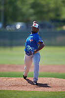 Toronto Blue Jays pitcher Rainer Nunez (17) during a Minor League Spring Training game against the Philadelphia Phillies on March 29, 2019 at the Carpenter Complex in Clearwater, Florida.  (Mike Janes/Four Seam Images)
