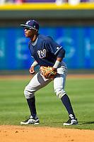 Wilmington Blue Rocks second baseman Justin Trapp (7) on defense against the Winston-Salem Dash at BB&T Ballpark on April 21, 2013 in Winston-Salem, North Carolina.  The Blue Rocks defeated the Dash 5-3.  (Brian Westerholt/Four Seam Images)