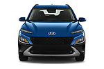 Car photography straight front view of a 2021 Hyundai Kona Techno 5 Door SUV Front View