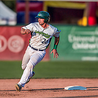 20 August 2017: Vermont Lake Monsters catcher Jarrett Costa in action against the Connecticut Tigers at Centennial Field in Burlington, Vermont. The Lake Monsters rallied to edge out the Tigers 6-5 in 13 innings of NY Penn League action.  Mandatory Credit: Ed Wolfstein Photo *** RAW (NEF) Image File Available ***
