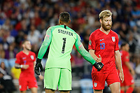 St. Paul, MN - Tuesday June 18, 2019: Zack Steffen, Tim Ream of the United States during a 2019 CONCACAF Gold Cup group D match between the United States and Guyana on June 18, 2019 at Allianz Field in Saint Paul, Minnesota.