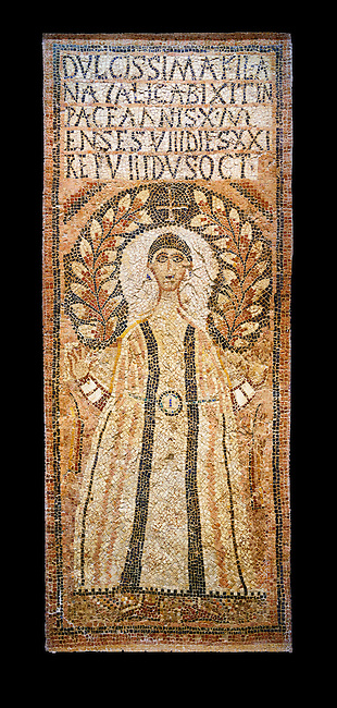 The Christian memorial funerary mosaic for Natalica the inscription reading: '(our) beloved daughter Natalica lived 10 years 8 months 21 days, rested the 8th Ides of October (23rd) '.<br /> <br /> The panel is decorated with a crescent laurel leaves against a black background and a cross encircling the head of a depiction of Natalica. She is wearing earnings and is dressed in a dalmatic, a long wide-sleeved tunic, which is decorated with black clavi, stripes, and embroidered sleeves. A belt and buckle with cabochons, shaped and polished gem stones, hold the tunic tight at the waste.  Either side of t Natalica are two lit candles, the symbols of eternity.<br /> <br /> 5th century Eastern Byzantine Roman mosaic from the funerary enclosure which is in the Northwest enclosure of the Acholla site, Tunisia. Bardo Museum, Tunis, Tunisia. Black background