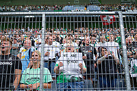 MG fans in the fan curve, we are back Soccer 1. Bundesliga, 1st matchday, Borussia Monchengladbach (MG) - FC Bayern Munich (M), on August 13th, 2021 in Borussia Monchengladbach / Germany. #DFL regulations prohibit any use of photographs as image sequences and / or quasi-video # Â