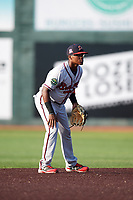 Danville Braves shortstop Nicholas Shumpert (1) during a game against the Johnson City Cardinals on July 29, 2018 at TVA Credit Union Ballpark in Johnson City, Tennessee.  Johnson City defeated Danville 8-1.  (Mike Janes/Four Seam Images)