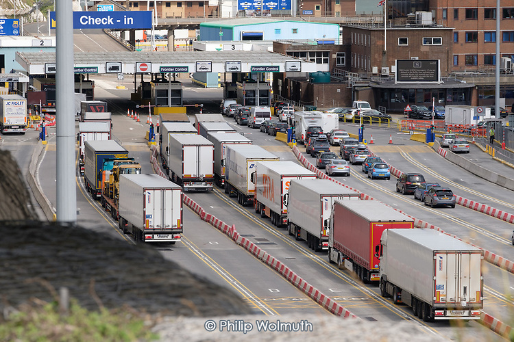 Lorries arriving at the Eastern Docks, Port of Dover, Kent.