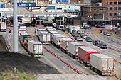 Lorries arriving at the Eastern Docks, Port of Dover, Kent.