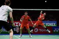 14th March 2020, Arena Birmingham, Birmingham, UK; Du Yue and Li Yinhui  of China compete during for womens doubles semifinal match against Lee So Hee/Shin Seung Chan of South Korea at All England Open 2020 badminton tournament in Birmingham