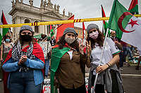 Rome, Italy. 05th June, 2021. Today, the Comunità Palestinese di Roma E Lazio (Palestinian Community of Rome and Lazio Region), Pro-Palestinian activists, movements and Parties of the non-parliamentarian, Left and members of the public held a demonstration in Piazza San Giovanni (1.). The aims of the rally were: showing support and solidarity to the Palestinian People; calling to keep the international community pressure's high to finally stop the Israeli occupation of the Palestinian Territories and ease the tension with the Gaza Strip; to protest against the recent crisis between Palestinian people and the Israeli armed forces which began on the 6th of May 2021 with the decision of the Israeli Supreme Court to evict four Palestinian families from the East Jerusalem neighborhood of Sheikh Jarrah, part of the Palestinian Territories under international law. In 11 days of Israeli bombings, the Gaza Strip alone has suffered the death of at least 256 people - including 66 children -, 6,000+ wounded – including 170 journalists - , and 110,000+ (data provided by the organisers of the demo) people displaced. In the same days of rockets launched from the Gaza Strip at least 12 people - including 2 children - were killed in Israel and 350 people were wounded. <br /> <br /> Footnotes And Links:<br /> 1. https://www.facebook.com/events/331696618318211<br /> 2. https://www.facebook.com/groups/sandoga/<br /> Other Organizations involved: http://www.assopacepalestina.org/ & http://bit.do/frfpo<br /> (Source, Reuters.com ENG, 27.05.2021) U.N. Launches Investigation Into Whether Israel, Hamas Committed Crimes https://www.reuters.com/world/middle-east/un-rights-chief-bachelet-says-israeli-strikes-gaza-may-be-war-crimes-2021-05-27/ <br /> 15.05.2021 - Rome For Palestine - Demo And March https://lucaneve.photoshelter.com/gallery/15-05-2021-Rome-For-Palestine-Demo-And-March/G0000l_LpSW_JFp4/C0000GPpTqAGd2Gg