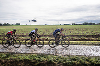 Mathieu van der Poel (NED/Alpecin Fenix) leading Sonny Colbrelli (ITA/Bahrain-Victorius) leading Guillaume Boivin (CAN/Israel Start-Up Nation)<br /> <br /> 118th Paris-Roubaix 2021 (1.UWT)<br /> One day race from Compiègne to Roubaix (FRA) (257.7km)<br /> <br /> ©kramon