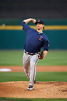 Pawtucket Red Sox starting pitcher Justin Haley (19) delivers a warmup pitch during a game against the Buffalo Bisons on August 31, 2017 at Coca-Cola Field in Buffalo, New York.  Buffalo defeated Pawtucket 4-2.  (Mike Janes/Four Seam Images)