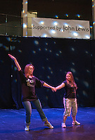 """Katherine Morland, who has Down's Syndrome, rehearsing her dance routine with choreographer, Hannah Greenslade.  Special Olympics Surrey put on a show,   """"Beyond the Stars"""", at the Rose Theatre, Kingston upon Thames to raise money for the  SOGB team.  The Special Olympics are for athletes with learning disabilities."""