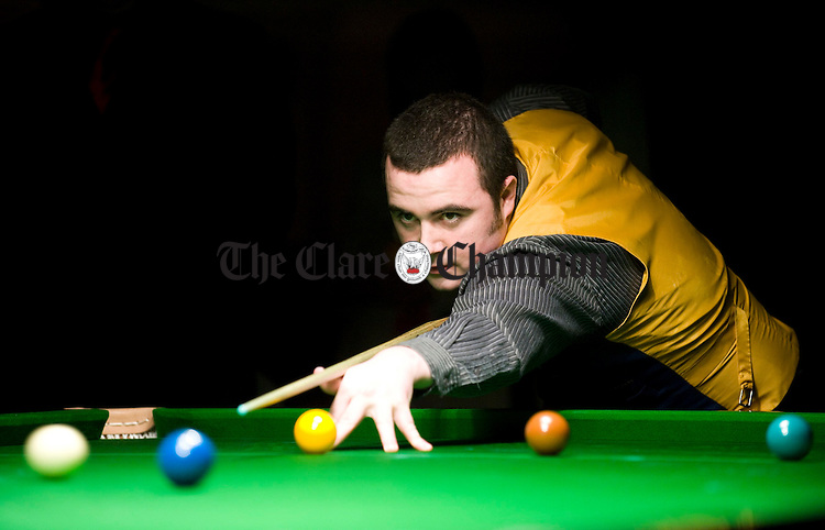 David Duggan playing Jimy White  during the exhibition snooker event at the West County Ennis. Photograph by John Kelly.