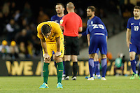 June 7, 2016: MARK MILLIGAN (5) of Australia reacts after the end of the international friendly match between the Australian Socceroos and Greece at Etihad Stadium, Melbourne. Photo Sydney Low