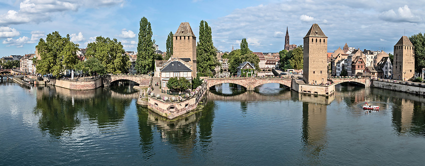 A panoramic view of Strasbourg from the roof of the Barrage Vauban, a covered passageway constructed in the 17th century across the River Ill.