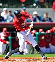 4 March 2010: Houston Astros right fielder Hunter Pence connects for a double during the Astros' Grapefruit League Opening Day game against a Washington Nationals' split squad at Osceola County Stadium in Kissimmee, Florida. The Astros defeated the Nationals 15-5 in Spring Training action. Mandatory Credit: Ed Wolfstein Photo