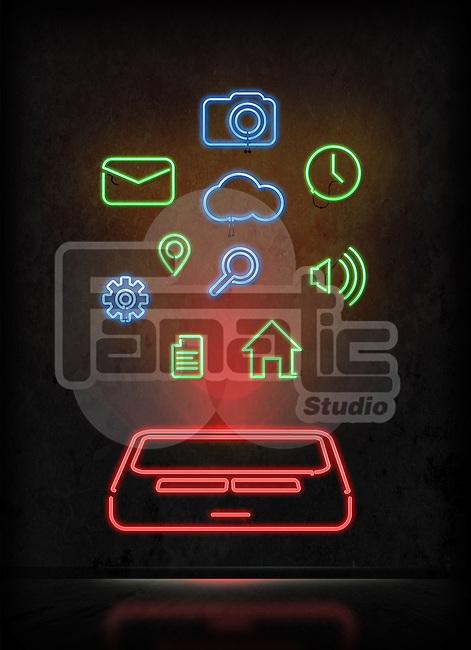 Illustrative image of mobile apps over black background