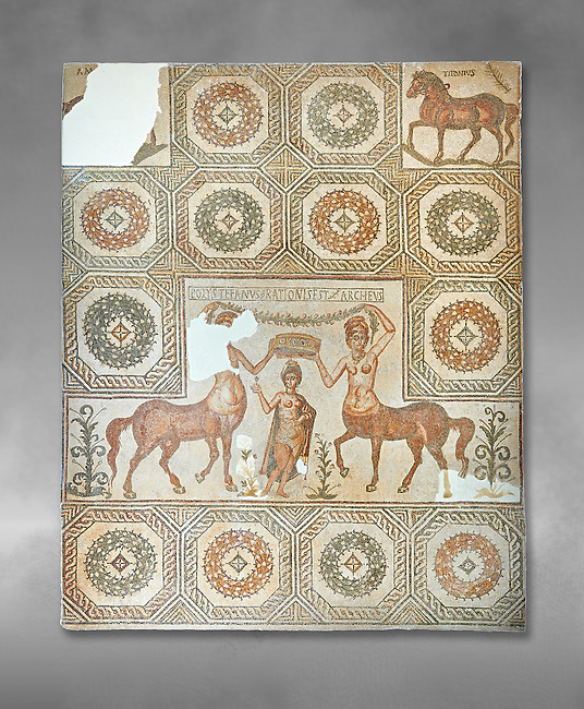 4th century Roman mosaic panel of the Goddess Venus from Ulules (Elles), Tunisia. Venus of Aphrodite is accompanied by 2 female centaurs, half women half horse creatures, known as Am(azoniu) and Titonius. The are crowning Venus The Bardo Museum, Tunis, Tunisia. The Bardo Museum, Tunis, Tunisia. Grey background