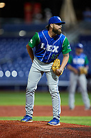 Lexington Legends relief pitcher Derek Self (11) looks to his catcher for the sign against the High Point Rockers at Truist Point on June 16, 2021, in High Point, North Carolina. The Legends defeated the Rockers 2-1. (Brian Westerholt/Four Seam Images)