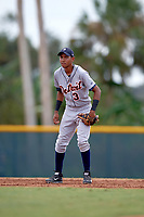 Detroit Tigers shortstop Jose King (3) during an Instructional League game against the Pittsburgh Pirates October 6, 2017 at Pirate City in Bradenton, Florida.  (Mike Janes/Four Seam Images)
