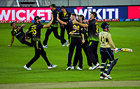 the Australian team celebrates the Marcus Stoinis catching Tim Seifert off Riley Meredith during the third international men's T20 cricket match between the New Zealand Black Capss and Australia at Sky Stadium in Wellington, New Zealand on Wednesday, 3 March 2021. Photo: Dave Lintott / lintottphoto.co.nz