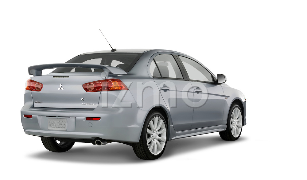 Studio rear 3/4 view of a 2008 Mitsubishi Lancer.