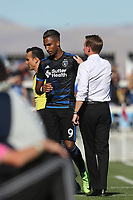 San Jose, CA - Sunday October 22, 2017: Danny Hoesen, Chris Leitch during a Major League Soccer (MLS) match between the San Jose Earthquakes and Minnesota United at Avaya Stadium.