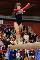 STANFORD, CA - JANUARY 15, 2012: Stanford Cardinal women's gymnastics competes at the NorCal Quad Meet at Burnham Pavilion on the Stanford campus in Stanford, California.  Scoring 194.900, Stanford topped all competitors, continuing its home win streak at Burnham.