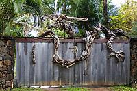 Driftwood gate art, Ha'ena, Kaua'i.