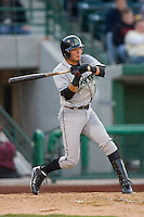 Miguel Rojas #17 of the Dayton Dragons at bat versus the Fort Wayne Tin Caps at Parkview Field April 16, 2009 in Fort Wayne, Indiana. (Photo by Brian Westerholt / Four Seam Images)