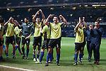 Stranraer captain Frank McKeown leads the celebrations at full-time