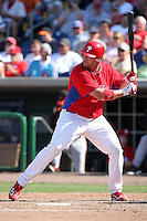 Philadelphia Phillies Matt Rizzotti #76 during a spring training game against the Baltimore Orioles at Bright House Field in Clearwater, Florida;  March 8, 2011.  Photo By Mike Janes/Four Seam Images