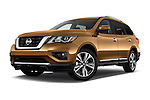 Stock pictures of low aggressive front three quarter view of 2018 Nissan Pathfinder Platinum 5 Door SUV Low Aggressive