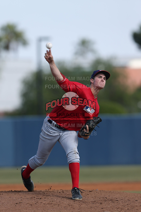 Jacob Nix of Los Alamitos High School in Los Alamitos, California during the MLBS Southern California Invitational Workout at the Urban Youth Academy on February 14, 2014 in Compton, California. (Larry Goren/Four Seam Images)