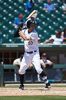 Patrick Leonard (20) of the Charlotte Knights at bat against the Gwinnett Stripers at BB&T BallPark on May 2, 2018 in Charlotte, North Carolina.  The Knights defeated the Stripers 6-5.  (Brian Westerholt/Four Seam Images)