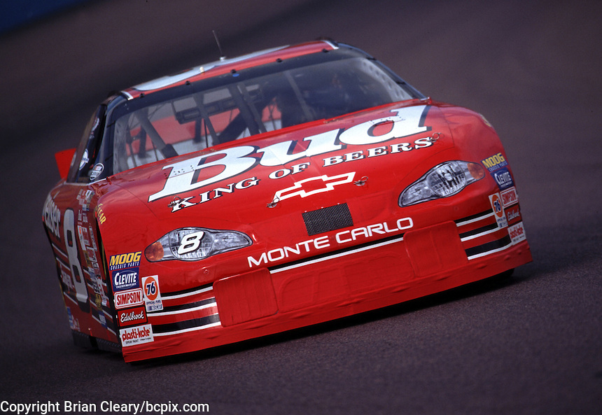 Dale Earnhardt Jr. in Happy Hour practice for the Checker Auto Parts/Duralube 500K at Phoenix International Raceway in November 2000. (Photo by Brian Cleary/www.bcpix.com)