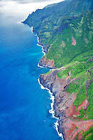 Na Pali coastline from the air. Kauai, Hawaii.