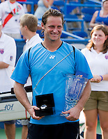 David Nalbandian poses for a photo after winning the Legg Mason Tennis Classic at the William H.G. FitzGerald Tennis Center in Washington, DC.  David Nalbandian defeated Marcos Baghdatis in straight sets in the finals Sunday afternoon.