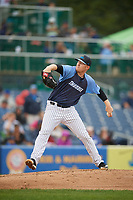 Trenton Thunder starting pitcher Ryan Bollinger (28) delivers a pitch during a game against the New Hampshire Fisher Cats on August 19, 2018 at ARM & HAMMER Park in Trenton, New Jersey.  New Hampshire defeated Trenton 12-1.  (Mike Janes/Four Seam Images)