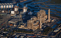 aerial photograph of the AES Huntington Beach power generation plant, Orange County, California. The original plant is at right; the replacement plant at left.