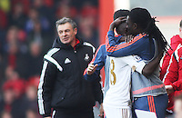 Modou Barrow of Swansea City celebrates scoring the equalising goal during the Barclays Premier League match between AFC Bournemouth and Swansea City played at The Vitality Stadium, Bournemouth on March 11th 2016